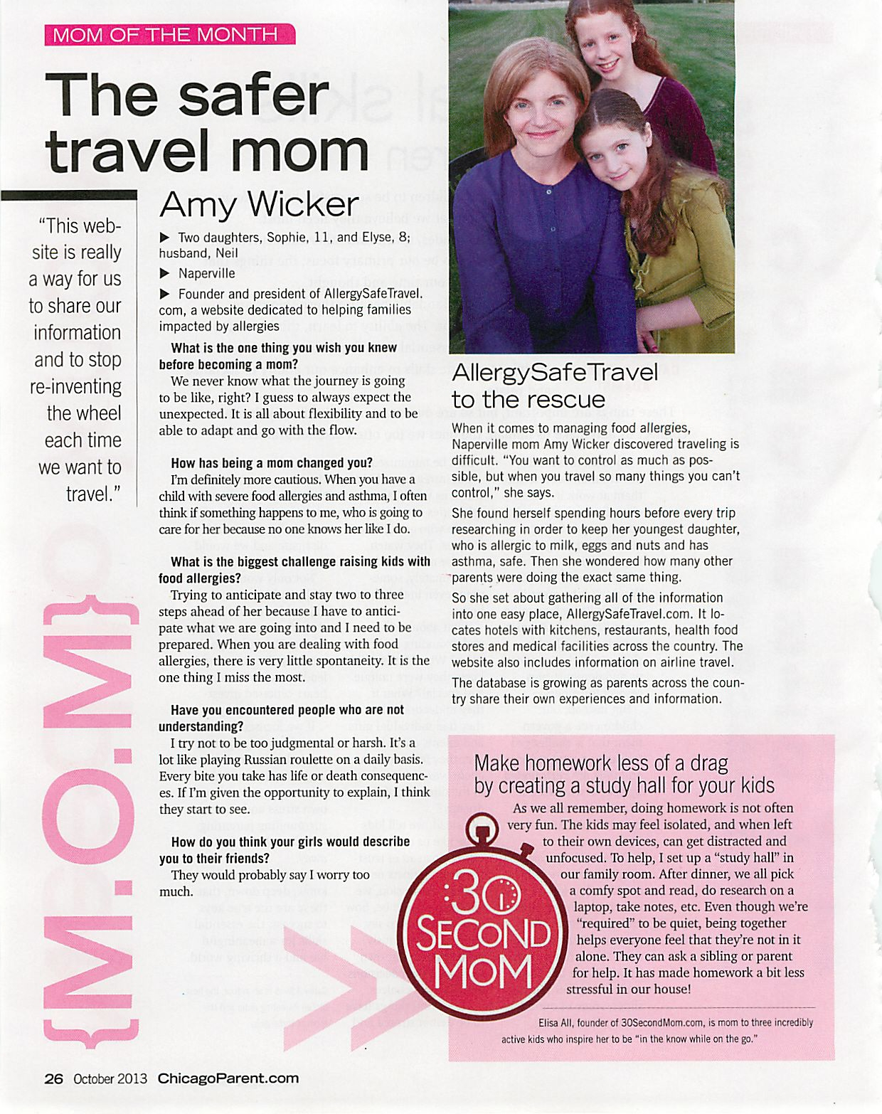Chicago Parent Magazine Mom of the Month October 2013